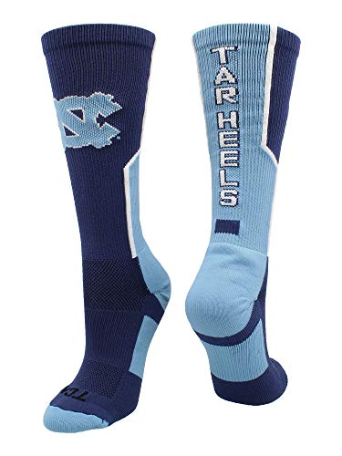 TCK Sports North Carolina Tar Heels Perimeter Crew Socks (Navy/Carolina Blue/White, (University North Carolina Tar Heels Basketball)