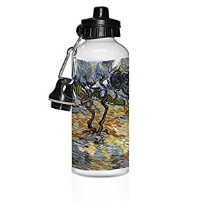 Olive Trees Yellow Sky & Sun (Van Gogh) White Aluminum Water Bottle