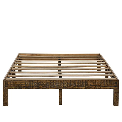 Ecos Living 14 Inch High Rustic Solid Wood Platform Bed with Natural Finish/No Box Spring/No Squeak, (Full)