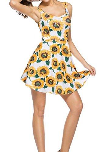Coolred Sunflower As1 Sun Sleeveless Women Bohemians Mini Dress Tunic Holiday Print Beach Floral traBr