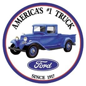 Poster Discount TIN Sign Round Ford Trucks, 12x12