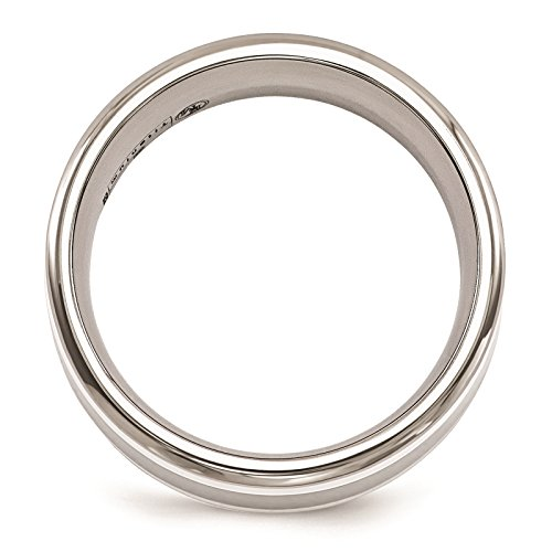 Titanium w/Sterling Silver Inlay Polished 9mm Wedding Ring Band Size 12 by Edward Mirell by Venture Edward Mirell Titanium Bands (Image #2)