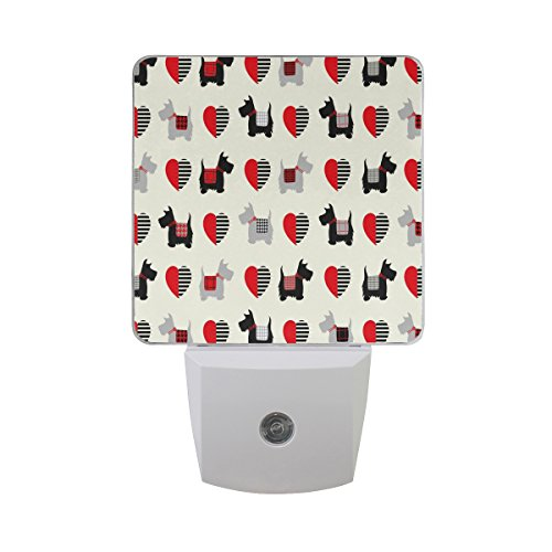 ALAZA Cute Cartoon Scottie Dog Puppy Love Heart LED Night Light Dusk to Dawn Sensor Plug Night Lamp Design for Adult Bedroom Bathroom Home Decor ()