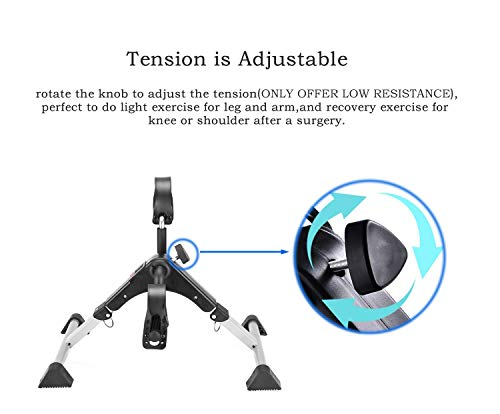 MOMODA Stationary Cycle Pedal Exerciser Desk Exercise Bike with LCD Monitor Foldable (Black/Grey) by MOMODA (Image #5)