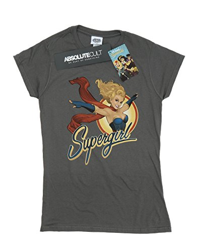 DC Comics Damen Bombshells Supergirl Badge T-Shirt Medium Holzkohle