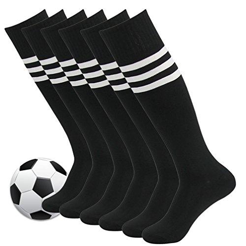 Mens Soccer Socks,Fasoar Unisex Athletic Rugby Running Knee High Football Socks 6 Pairs Black