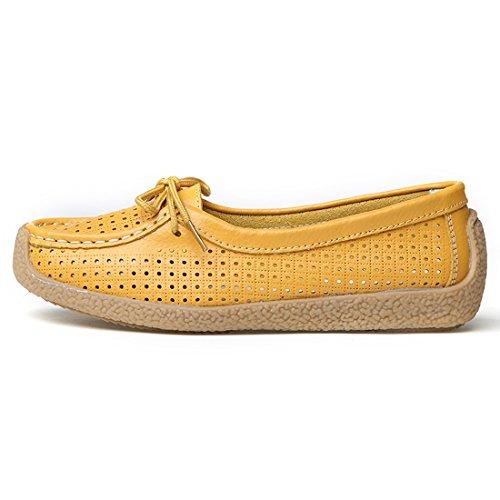 Moda Pelle Loafers Z Donna Da In Guida Giallo Mocassini suo Comode Scarpe wAwXIqRFx