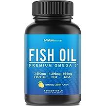 Premium Fish Oil Omega 3 - MAX POTENCY - WEIGHT LOSS - 3,600mg + 1,296mg EPA + 864mg DHA + Immune Support + Heart & Brain Health + Joint & Skin Support + Burpless + Natural Lemon Flavor, 120 CAPSULES