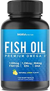 Premium Fish Oil Omega 3 - MAX-POTENCY - 3,600mg + 1,296mg EPA + 864mg DHA + Immune Support + Heart Health + Brain Health, Joint + Skin Support + Burpless + Natural Lemon Flavor, 120 CAPSULES