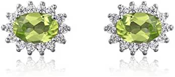 JewelryPalace Princess Diana 1.6ct Natural Peridot Stud Earrings 925 Sterling Silver