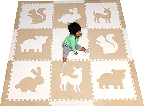 (SoftTiles Woodland Animals Playmat   Kids Foam Play Mats   Nontoxic Baby Play Mats w/Sloped Edges for Playrooms and Nursery- Extra Thick 2 Foot Floor Tiles- 6.5 x 6.5 ft. (White, Light Gray) SCWOOWT)