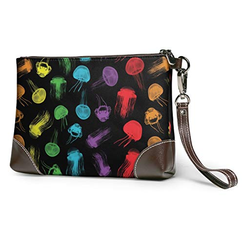 Rainbow Jelly Leather Wristlet Clutch Bag Zipper Handbags Purses Phone Wallets With Strap Card Slots