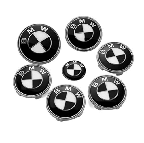 (GANGJIANLAN 7pcs FIT for BMW² Black/White Badge Emblem Set Wheel Centre Caps e60 e61 e46 (2))