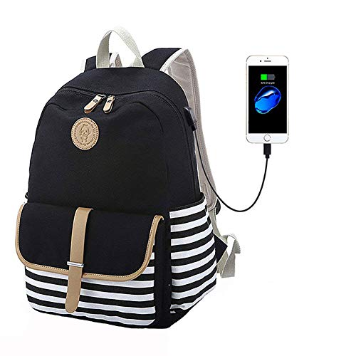 FLYMEI Canvas Laptop Bag Cute School Backpack College Bookbag Shoulder Daypack Casual Travel Bags with USB Charging Port for Teen Girls and - Cute With Girls