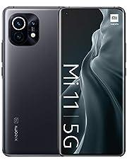 """Xiaomi Smartfon Mi 11 5G + słuchawki (6,81"""" Amoled DotDisplay + AdaptiveSync, 8 + 128 GB, 108 MP OIS potrójny aparat przedni i 20 MP, Dual 5 G SIM, Android 11.0, MIUI 12.5) szary – [wyłącznie w Amazon]"""