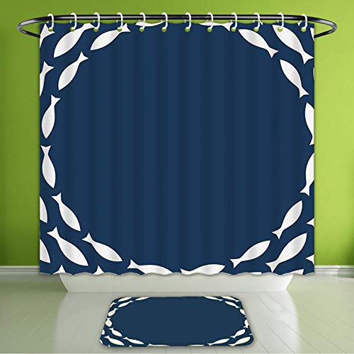 Waterproof Shower Curtain and Bath Rug Set Navy Blue Decor Ocean Navy Themed School of Cute Fish Swimming in A Circle Print Navy Blue and Bath Curtain and Doormat Suit for Bathroom 60