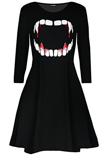 Women Ladies Fancy Costume Vampire Horror Blood Halloween Smock Swing Mini -