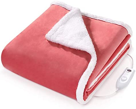 "Heated Blanket Electric Throws Lightweight Soft Double-Layer Plush Blanket, 3 Heat Settings, Fast Heating, 2H Auto Off, 50"" x 60"" Pink, Travel Home Office Use, Machine Washable"