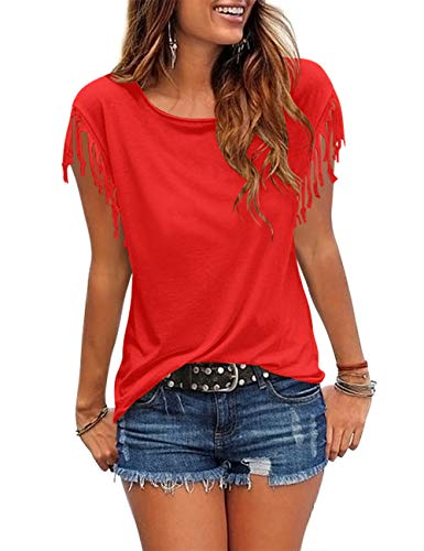 Cosonsen Women's Tassel Short Sleeve Round Neck T-Shirt Top Casual Summer Tee