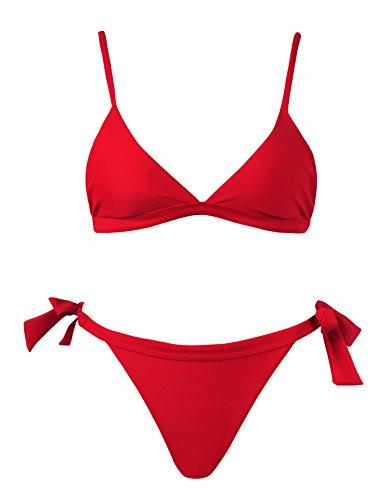 Misdear Juniors Big Girls Cute Swimsuits Women Bathing Suit 2 Piece Red Sexy Triangle Strappy Padded Retro Tie Side Bikini Sets Push up Vintage Swimwear.MKJI039-R1-M Retro Vintage Tie