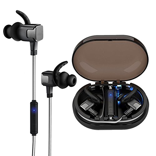 5f76f671928 Bluetooth Headphones, Wireless Earbuds V4.2 Magnetic Earphones Sports  Headsets with Charge Box IPX7