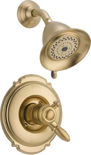 Delta Faucet Victorian 17 Series Dual-Function Shower Trim Kit with 2-Spray Touch-Clean Shower Head, Champagne Bronze T17255-CZ (Valve Not Included)