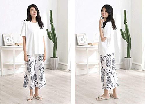 Cómodo Conjunto Ropa Mujeres Cuello Blanco Impreso Pijamas Manga Redondo Dormir Corta De Pantalones Anchos Casuales Pijama Verano Moda Piña Mujer Elegantes qHgfwSX