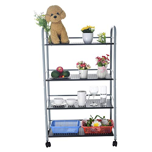 - Fangoog Kitchen Storage Rack 4-Shelf Storage Rack Kitchen Microwave Storage Organizer-Utility Rolling Cart Trolley with Lockable Wheels for Kitchen Bathroom Office from US Warehouse (Silver)