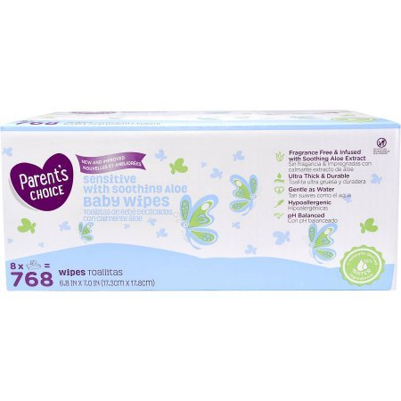 Amazon.com: PACK OF 3 - Parents Choice Sensitive Baby Wipes, 8 packs of 96 (768 count): Health & Personal Care