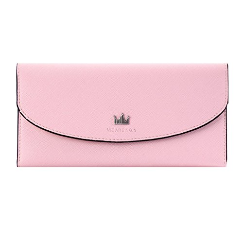 Damara Womens Crown Thin Tri-fold Twill Card Holder,Peach (Twill Tri Fold Wallet)