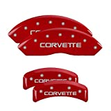 MGP Caliper Covers 13013SCV4RD Caliper Cover (Red Powder Coat Finish, Engraved Front and Rear: C4/Corvette, Silver Characters, Set of 4)
