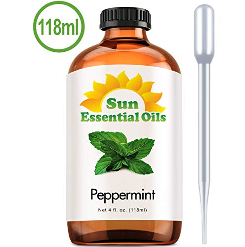 Best Peppermint Oil (Large 4 Oz) Aromatherapy Essential Oil for Diffuser, Burner, Topical Useful for Hair Growth, Mice, Rodents Repellent, Headaches Skin Home Office Indoor Mentha Piperita Mint Scent ()