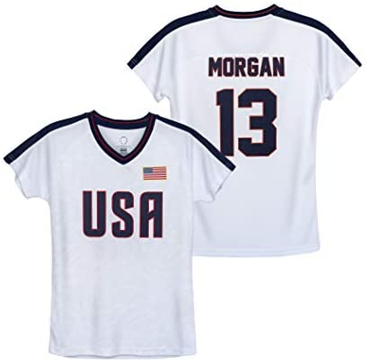 Icon Sports USWNT Player T Shirt – Girls' Official U.S. Women's National Soccer Team Association USA Flag Football Tee Top