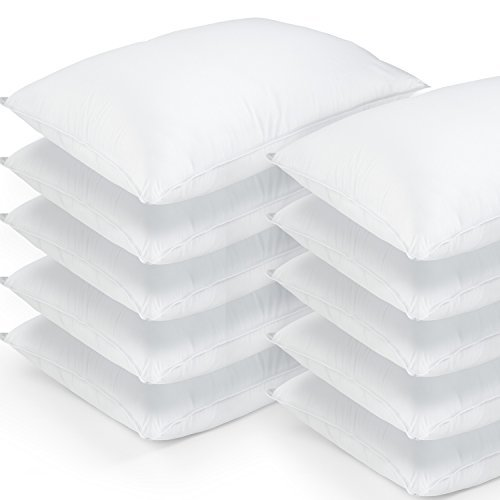 DOWNLITE 10 Pack Hotel Style Hypoallergenic Down Alternative Value Pillow - Soft/Medium Density - Jumbo 20