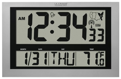 - La Crosse Technology 513-1211 Atomic Wall Clock with Jumbo LCD Display with Indoor Temperature