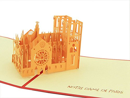 Price comparison product image IShareCards Handmade Pop Up 3D Thank You Greeting Cards World Famous Buildings (Notre Dame de Paris)