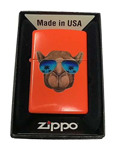 Zippo Custom Lighter - Cool Camel w/ Blue Sunglasses & Palm Trees - Neon - Zippo Sunglasses