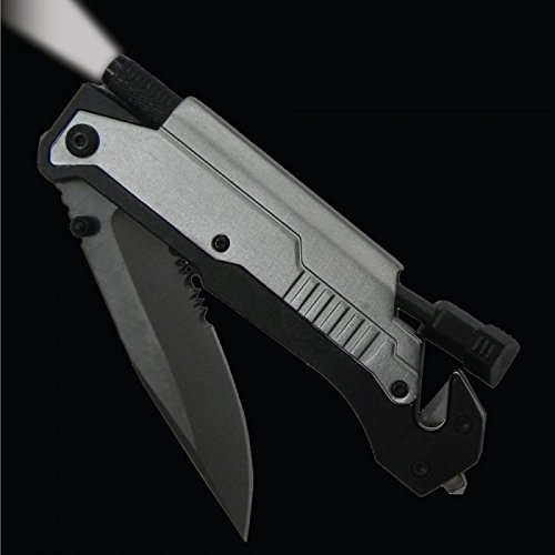 5 in 1 Survival Knife with LED Flashlight & Fire Starter (1 Knife)