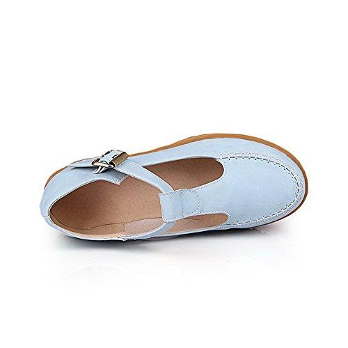 Tonda Donna VogueZone009 Tacco Puro Flats Medio Luccichio Azzurro Punta Ballet Fibbia aOInOSr