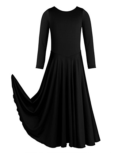 iiniim Kids Big Girls Long Sleeve Liturgical Praise Lyrical Dance Dress Maxi Pleated Skirt Black 10