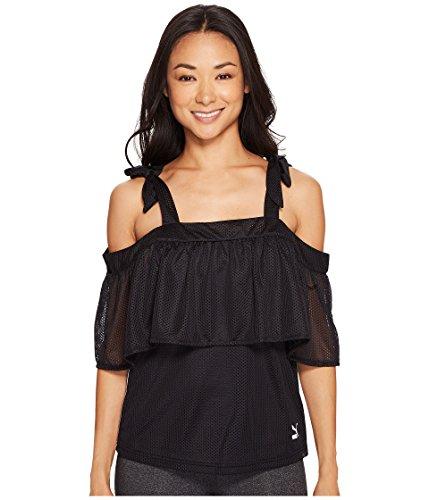 (PUMA Women's Xtreme Off The Shoulder Tee Puma Black T-Shirt)