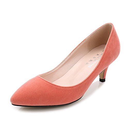 Womens Slip Size Dress Candy Orange Color Large Suede Pumps On STrAS