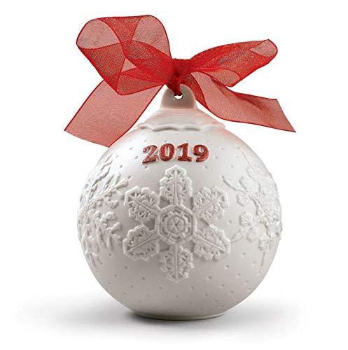 Lladro 2019 Red Porcelain Christmas Ball #8445 (Lladro Christmas Figurines)