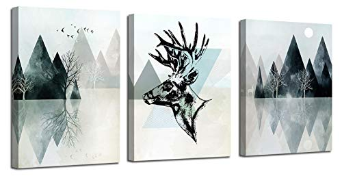 Ardemy Canvas Wall Art Abstract Geometry Landscape Mountain Painting Modern Black and White Deer Triangle Hills 12 x16 x3 Panels Pictures Framed for Living Room Bedroom Bathroom Home Office Decor