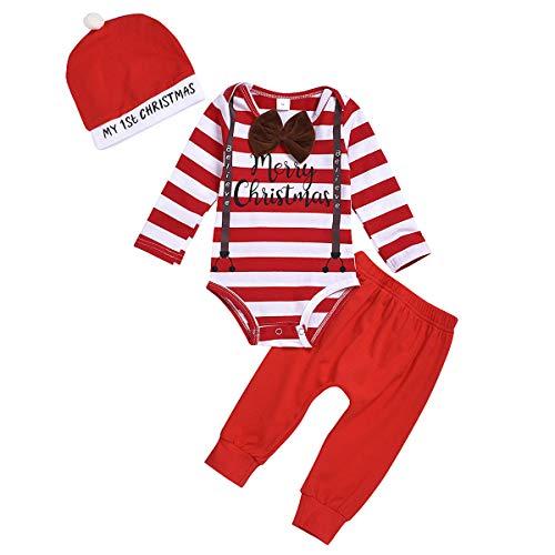 puseky Baby jongens mijn eerste kerstoutfit strepen lange mouwen rompertje + broek + hoed kerstkleding set