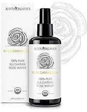 Alteya Organic Rozenwater Bio Glazen Flessenspray 200ml - 100% USDA biologisch gecertificeerd puur authentiek natuurlijk 'Rosa Damascena' bloesemwater, stoom gedistilleerd en rechtstreeks vervaardigd en verkocht door de rozenkweker Alteya Organics.