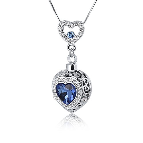 ANAZOZ Blue Heart Zirconia Urn Keepsake Pendant Stainless Steel Ashes Necklace Memorial Cremation Jewelry