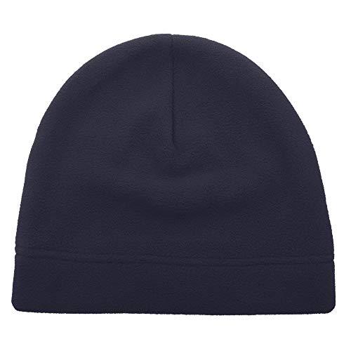 (Opromo Men's Fleece Beanie Hat Soft Warm Winter Windproof Under Helmet Skull Cap Navy Blue)