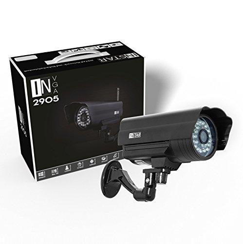 Instar wetterfeste WLAN Netzwerkkamera für Außenbereich IN-2905 V2 (24 LED Infrarot Nachtsicht, IR Cut Filter, Audio Ein/Ausgang) schwarz
