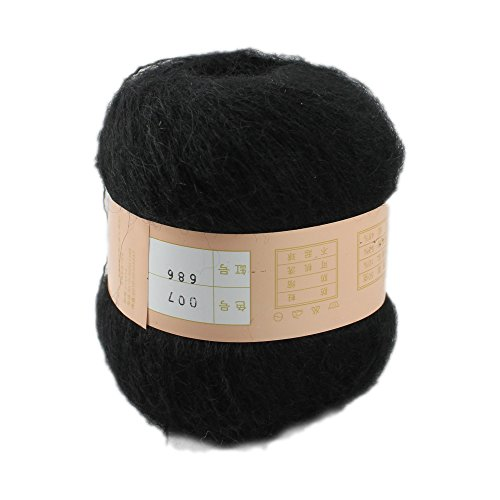 One skein Angola Mohair Cashmere Wool Knitting Yarn 50g,Black